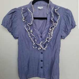Odille Anthropologie Ruffle Shirt Blue blouse